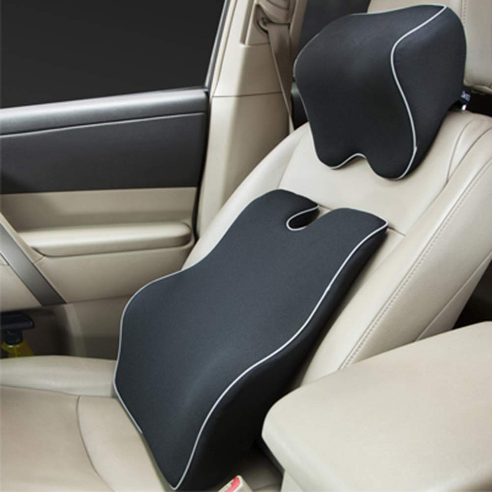 RUIRUIY Car Lumbar Pillow Cushions Support Back Cushion Memory Foam Four Seasons Available Skin Friendly Not Easily Deformed, 2 Colors, 2 Styles (Color : A, Size : 45X39X13CM)