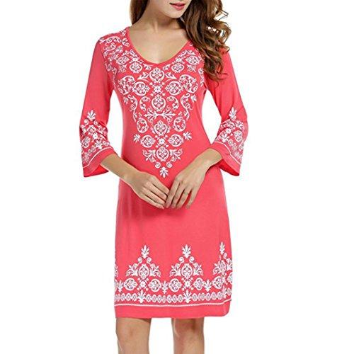 Rambling New Women Casual Summer Floral Shift Dress 3/4 Sleeve T-Shirt Tunic Swing Dress