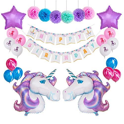 MeiHoyo Unicorn Themed Birthday Party Decorations Kit 1 Pcs Unicorn Happy Birthday Bunting Banner + 6 Pcs 12'' Paper Pom Poms + 2 Pcs 40'' Unicorn + 14 Pcs Star Foil Ballons Latex Balloons