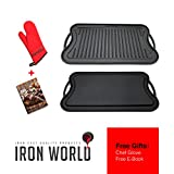 grill pan for gas grill - Iron World Cast Iron Griddle Grill Pan - Reversible Nonstick for Gas Stove Stovetop Burner Cooktop Electric Induction Outdoor Grilling and Bbq. Seasoned Double Sided Large 20/10 Inch Griddles