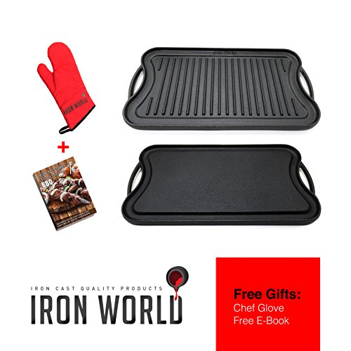 Iron World Cast Iron Griddle Grill Pan - Reversible Nonstick for Gas Stove Stovetop Burner Cooktop Electric Induction Outdoor Grilling and Bbq. Seasoned Double Sided Large 20/10 Inch Griddles