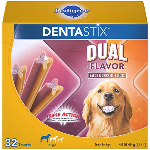 Pedigree DENTASTIX Dual Flavor Large Dog Dental Treats Bacon & Chicken Flavors Dental Bones, 1.47 lb. Pack (32 Treats) (Training Treat Stick Dog)