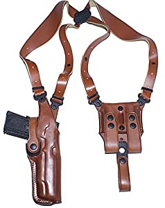 Premium Leather Vertical Shoulder Holster System with Double Magazine Carrier Fits, Glock 19/23/32, Right Hand Draw, Brown Color #1014#