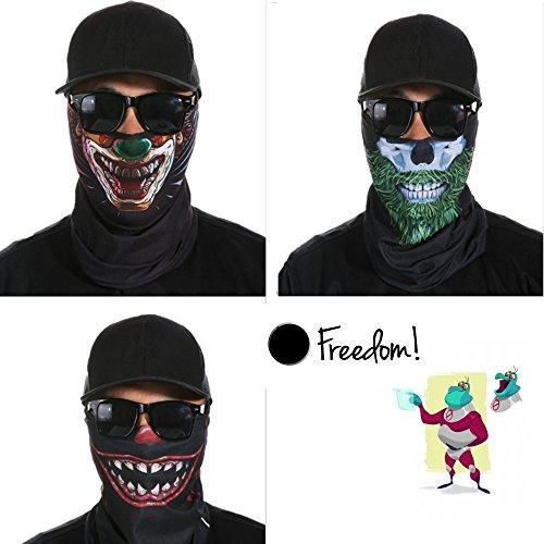 Skull Mask, Breathable Seamless Half Face Tube Mask Bandanas for Dust, Music Festivals, Raves, Riding, Outdoors, 3 Pcs (freak show)