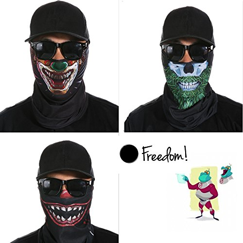 Plus Half Mask (Skull Mask, Breathable Seamless Half Face Tube Mask Bandanas for Dust, Music Festivals, Raves, Riding, Outdoors, 3 Pcs (freak show))