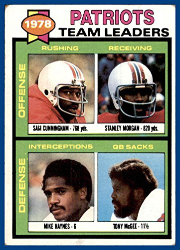1979 Topps #76 New England Patriots Sam Cunningham Stanley Morgan Mike Haynes Tony McGee (poor, marked checklist)
