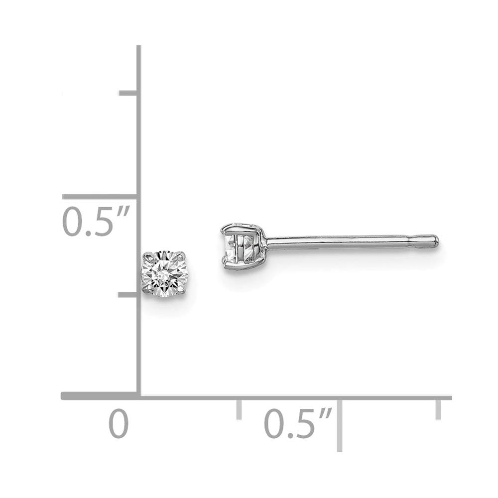 FB Jewels Solid Sterling Silver Rhodium-Plated Madi 3mm Round CZ Cubic Zirconia Stud Earrings