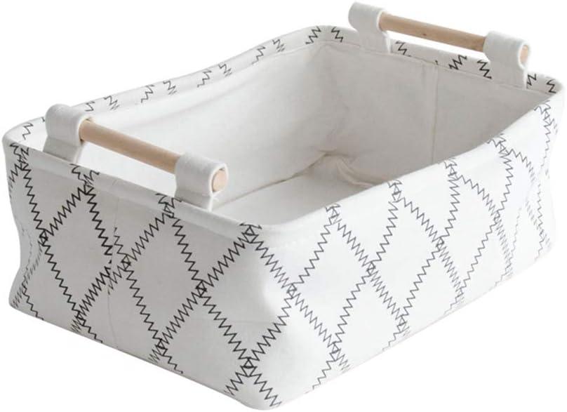 Meteorax Cesta de almacenamiento, contenedor de tela con asas de madera de gran capacidad, cesta de almacenamiento de juguetes