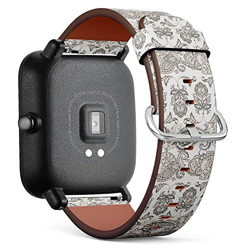 Compatible with Huami Amazfit Bip - Quick-Release Leather Band Bracelet Strap Wristband Replacement - Folkloric Batik Ornament Ethnic Floral ()