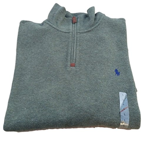 Cable Half Zip Sweater (Polo Ralph Lauren Men's Half Zip French Rib Cotton Sweater (Alpine Heather, XL))