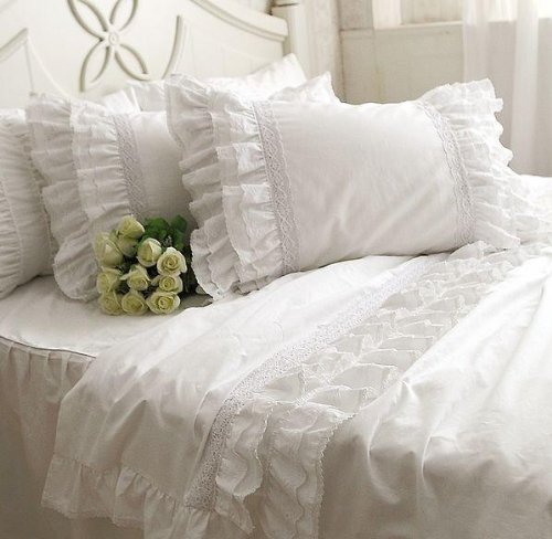 DIAIDI Home Textile,Luxury Lace Ruffle Pillowcases,Beautiful White Pillowcases,Pillow Case,Pillow Cover,19''29'', 1 pair (2) (Throw White Ruffle Pillow)