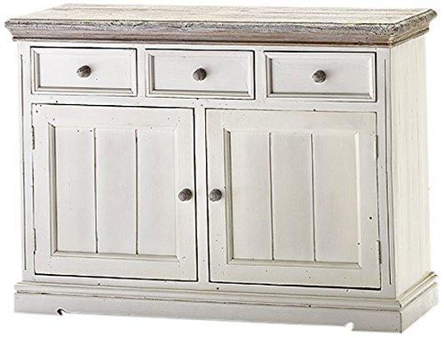 Robas Lund FW608T02 Opus Sideboard, Kiefer weiß / white sanded, 2 Türen / 3 Schubkästen, circa 125 x 90 x 47 cm