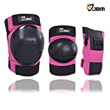 JBM international Adult / Child Knee Pads Elbow Pads Wrist Guards 3 In 1 Protective Gear Set, Pink, Adult