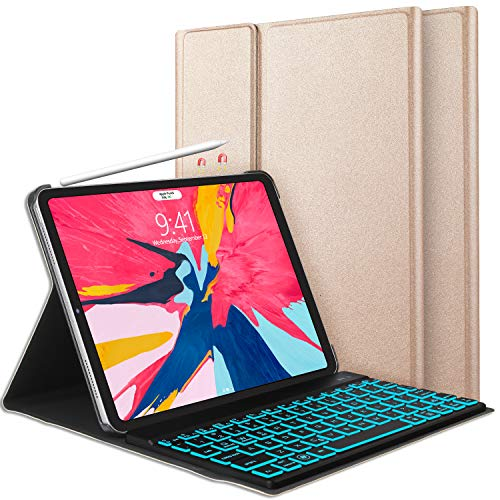 iPad Keyboard Case Compatible with iPad Pro 11 inch 2018, [Support Apple Pencil Charging] Bluetooth Keyboard KVAGO-185 Protective Case with Detachable Wireless 7 Colors Backlit Keyboard -Gold