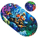Non-Slip Kids Bathtub Mats Toddler Bath Shower Mat 27 x 15 Inch Colorful Pattern Fit Any Size Bathtub Baby Friendly PVC with Suction Cup (sea World)