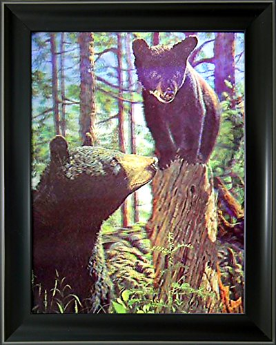 - Lee's Collection Holographic 14.5 inches x 18.5 inches Bear and Cub 3D Animated Picture with Black Frame
