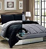 "AVI Newly Design Reversible Style 200 GSM Microfiber AC Comforter/Duvet/Quilt for Single Bed - (60""x 90"") inches, Black & Grey"