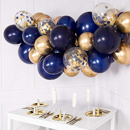 Navy Blue Party Balloons 50 Pcs 12 Inch Navy Blue,Gold Confetti,Pearl White,Gold Metallic and Silver Metallic Latex Balloon for Navy Blue Party Birthday Party Baby Shower Decorations]()