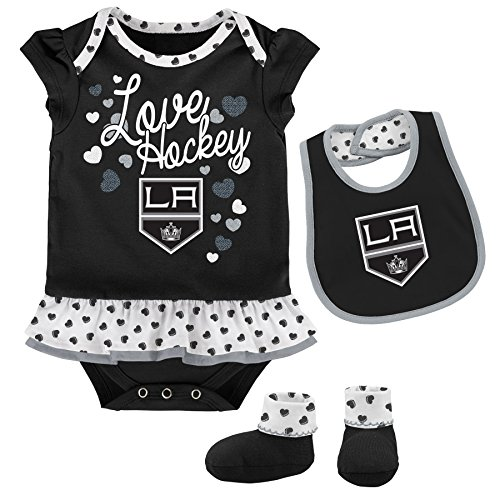 Outerstuff NHL Los Angeles Kings Newborn & Infant Love Hockey Bib & Bootie Set, 12 Months, Black (La Kings Hockey)