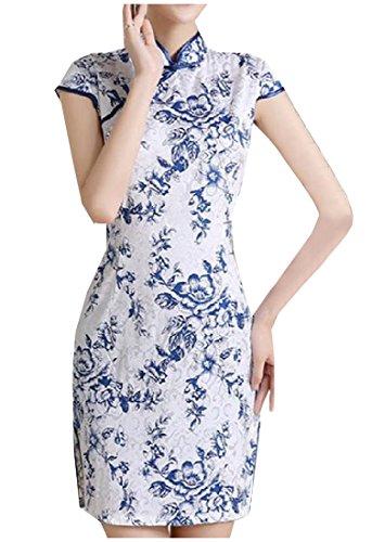 Fseason Women's Floral Stand Collar Chinese Cheongsam Split Short Dress 4 M ()