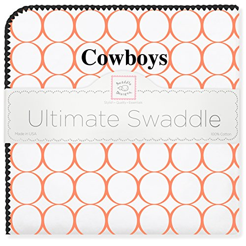 SwaddleDesigns Ultimate Swaddle, X-Large Receiving Blanket, Made in USA Premium Cotton Flannel, Oklahoma State University, Cowboys (Mom's Choice Award Winner)