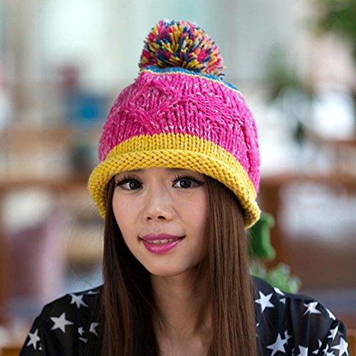 Coreana del Rizado Tejido 1 Lana 1 Knit la Sombrero Bola de Versión Maozi Natural de Largo 5qSY77