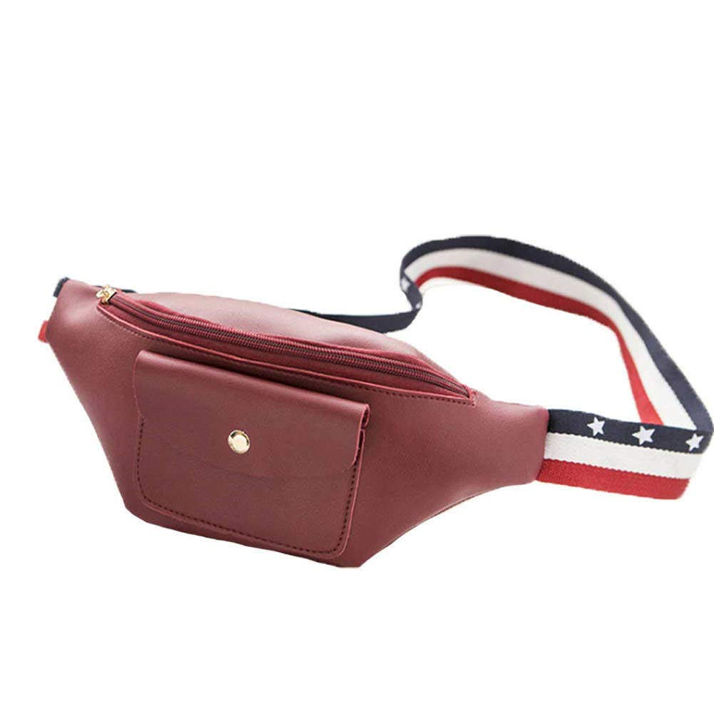 Women Waist Bag Pouch Purse Pocket with Adjustable Belt PU Leather Travel Bum Small Wallet Fanny Pack Grey