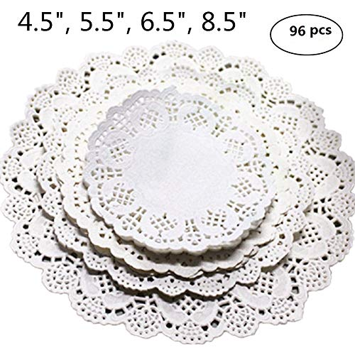 Winko 96 Count White Round Paper Lace Doilies for a Tea Party or Birthday or Luau Party,Assorted size