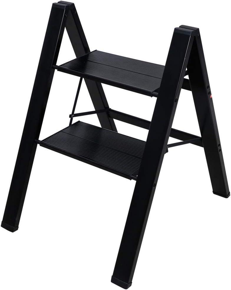 Baoyouni - Escalera de 2 peldaños ligera plegable de aluminio resistente, estante de almacenamiento con plataforma ancha antideslizante para el hogar, oficina, pintura, color negro: Amazon.es: Hogar