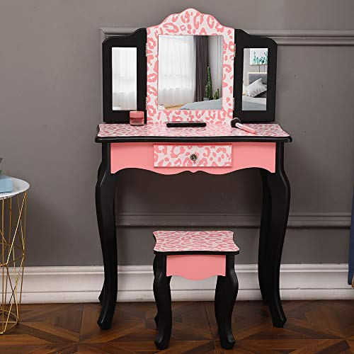 Girls Vanity Set,Kids Wooden Vanity Table & Stool Set Princess Make Up Dressing Table with Storage Drawer and Removable Tri-Folding Mirror,Toddlers Makeup Desk Vanity Beauty Station for Girl, Pink