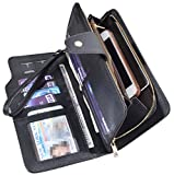 Women Lady Leather Wallet Zipper Purse RFID Credit Card Clutch Holder Case Girl (Black)