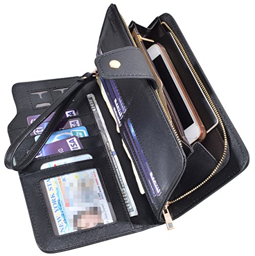 Women Lady Leather Wallet Zipper Purse RFID Credit Card Clutch Holder Case Girl (Black) by Yuhan Pretty