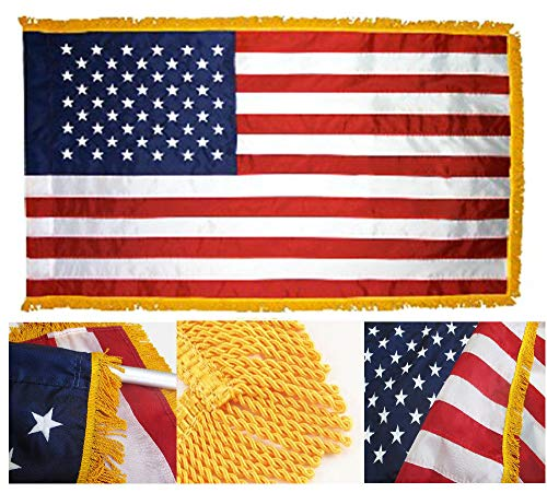ALBATROS 3 ft x 5 ft Embroidered US USA American 220-D Flag Indoor Pole Sleeve Gold Fringe for Home and Parades, Official Party, All Weather Indoors Outdoors