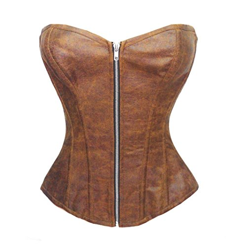 [Bslingerie Womens Faux Leather Zipper Front Bustier Corset (M, Brown)] (Brown Leather Corset)