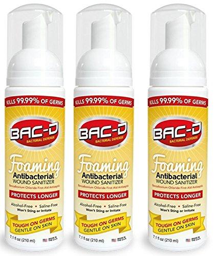 BAC-D 619 Antibacterial Alcohol Free Foaming Wound Sanitizer, 7.1oz (Pack of - Free Antibacterial