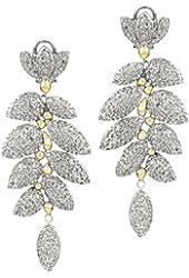 Two Tone Leaf Cubic Zirconia Dangle Earrings