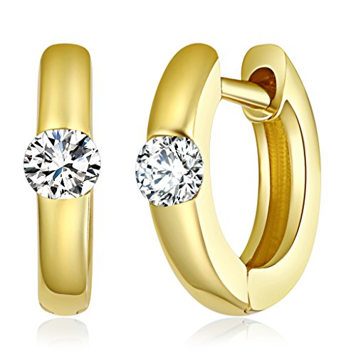Wellingsale Ladies 14k Yellow Gold Polished 1mm Fancy Huggies Hoop Earrings (9mm Diameter) 14k Yellow Gold Mount