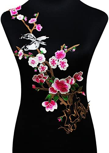 1PC Embroidered Plum Blossom Flower Patch Sew on Applique Craft Making Craft