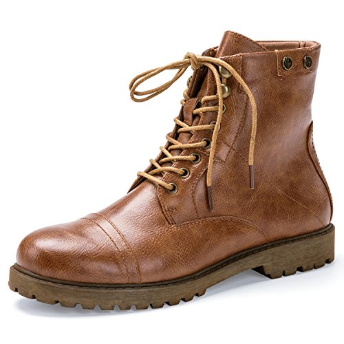Womens Casual Winter Boots (PIANFAI Women's Military Lace Up Combat Boots Casual Outdoor Flats Ankle Booties For Winter (8.5 B (M) US))