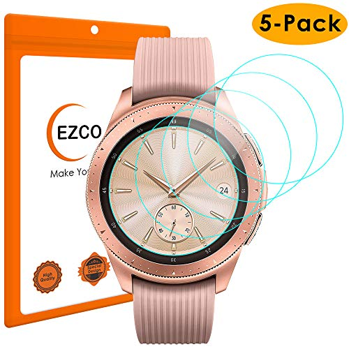 EZCO (5-Pack) Compatible Samsung Galaxy Watch 42mm 46mm Screen Protector, Waterproof Tempered Glass Screen Protector Cover Compatible Galaxy Smart Watch [Scratch Resist] [99.9% Clear HD] [Anti-Bubble] (Crystal Glass Womens Watch)