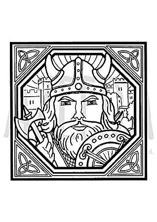 Azeeda A7 Square Viking Motif Unmounted Rubber Stamp Sp00003980