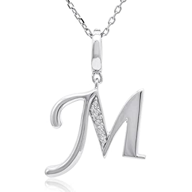 9fefc473f18c3 Amazon.com  Diamond Initial M Charm Pendant in Sterling Silver on an 18in.  Chain  Pendant Necklaces  Jewelry