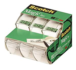 Scotch Magic Tape, Dispensered, 19mm x 8.9m Per Roll, 3 Rolls, (3105-L-CDN)