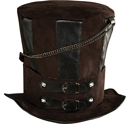 Rubie's Steampunk Top Hat With Chains and Buckles, Brown/Black, One -