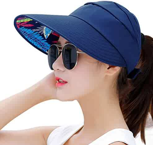 HindaWi Sun Hats for Women Wide Brim UV Protection Sun Hat Summer Beach  Packable Visor 3b80ed194b76