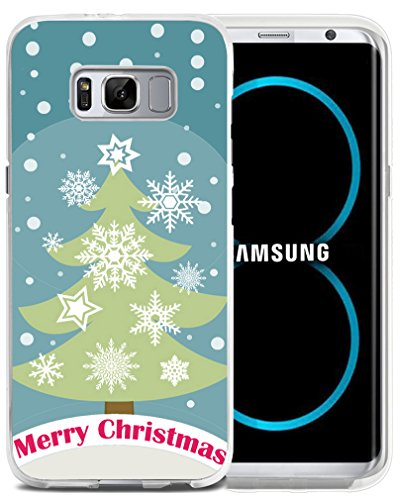 S8 Plus Case - CCLOT Case for Galaxy S 8 Plus - Protector Cover Compatible for Samsung S8 Plus - Christmas Trees Blue Gift Cute Theme Design Scene Merry Words (Slim Flexible TPU Protective Silicone)