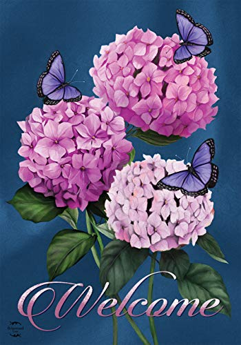 Butterflies and Hydrangeas Spring House Flag Welcome Floral 28