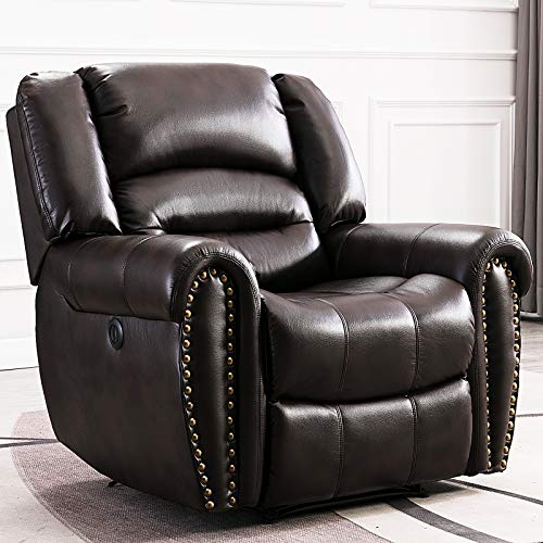 ANJ Electric Recliner Chair W/Breathable Bonded Leather, Classic Single Sofa Home Theater Recliner Seating W/USB Port, Brown
