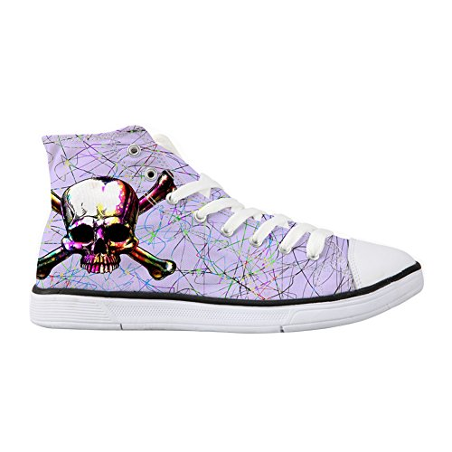Punk Skull Canvas High-top Sneakers Casual Ultralight Comfy Walking Shoes for Women US 5.5