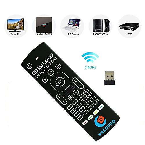 Calvas Newest Air Mouse Backlight Wireless Keyboard 2.4G IR Learning Fly Air Mouse Backlit For Android TV Box Durable